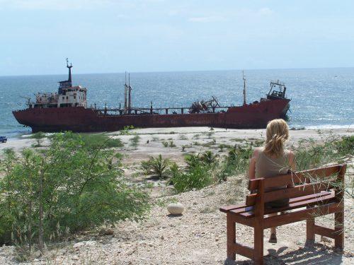 Angola'nın başkenti Luanda'nın güneyindeki Santiago sahillerine vuran şileplerden birine cephe hayallere dalış...